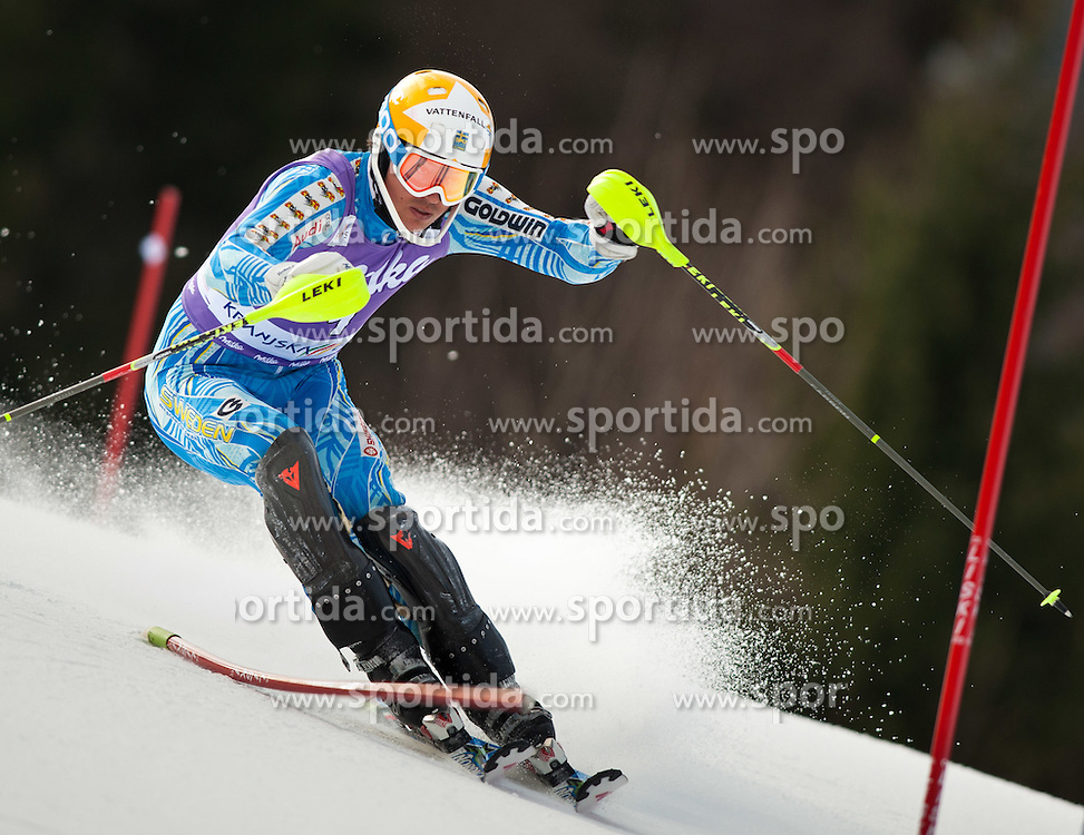 11.03.2012, Podkoren 3, Kranjska Gora, SLO, FIS Weltcup Ski Alpin, Herren, Salom, 1. Durchgang, im Bild Andre Myhrer (SWE) // Andre Myhrer of Sweden during mens Slalom 1st run of FIS Ski Alpine World Cup at 'Podkoren 3' course in Kranjska Gora, Slovenia on 2012/03/11. EXPA Pictures © 2012, PhotoCredit: EXPA/ Johann Groder
