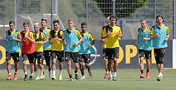 30.06.2015, Trainingsanlage, Dortmund, GER, 1. FBL, Borussia Dortmund, Trainingsauftakt, im Bild v.l. Henrikh Mkhitaryan (Dortmund), Jonas Hofmann (Dortmund), Kevin Kampl (Dortmund), Roman Buerki (Dortmund), Ilkay G??ndogan / Guendogan (Dortmund), Sven Bender (Dortmund), Jeremy Dudziak (Dortmund), Hendrik Bonmann (Dortmund), Mats Hummels (Dortmund), Marcel Schmelzer (Dortmund) und Neven Subotic (Dortmund) beim auslaufen // during a traning session of German 1st Bundeliga Club Borussia Dortmund at Trainingsanlage Borussia Dortmund in Dortmund, Germany on 2015/06/30. EXPA Pictures © 2015, PhotoCredit: EXPA/ Eibner-Pressefoto/ Hommes<br /> <br /> *****ATTENTION - OUT of GER*****