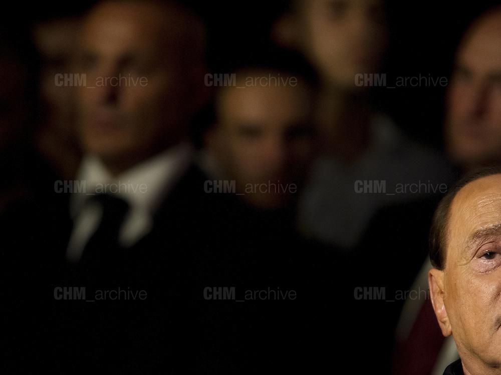 Silvio Berlusconi durante il suo intervento ad 'Atreju', manifestazione politica organizzata dai giovani del partito Fratelli d'Italia , Roma 26 settembre 2015. Christian Mantuano / OneShot<br /> <br /> Silvio Berlusconi's  speech at 'Atreju', political event organized by the right wing party Fratelli d'Italia, Rome on September 26, 2015. Christian Mantuano / OneShot