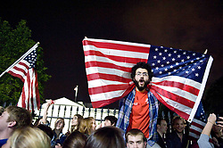 College students gather at the White House on the night it was announced that Bin Laden had been killed.