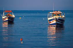 MALTA ST. JULIAN  JUL00 - Two larger Daisas lie at anchor in the bay of St. Julian.....jre/Photo by Jiri Rezac....© Jiri Rezac 2000....Tel:   +44 (0) 7050 110 417..Email: info@jirirezac.com..Web:   www.jirirezac.com