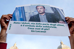 October 2, 2018 - Rome, Italy, Italy - Sit-in in Rome against the arrest of the Mayor of Riace (Reggio Calabria), Domenico Lucano, executed this morning on charges of aiding illegal immigration..Domenico Lucano (called Mimmo) who is under house arrest is known throughout the world for the model of reception and integration of asylum seekers made in the country of Calabria, Riace, of which he is mayor. The 2016 Fortune magazine had included Mimmo Lucano among the 50 most influential personalities in the world. (Credit Image: © Patrizia Cortellessa/Pacific Press via ZUMA Wire)