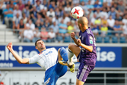 August 27, 2017 - Gent, BELGIUM - Gent's Stefan Mitrovic and Anderlecht's Sofiane Hanni fight for the ball during the Jupiler Pro League match between KAA Gent and RSC Anderlecht, in Gent, Sunday 27 August 2017, on the fifth day of the Jupiler Pro League, the Belgian soccer championship season 2017-2018. BELGA PHOTO BRUNO FAHY (Credit Image: © Bruno Fahy/Belga via ZUMA Press)