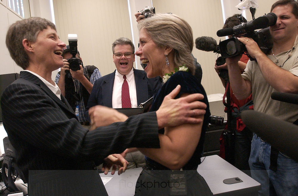 Peg Preble and Robyn Ochs are the first gay couple to be legally married in Brookline, MA, May 17, 2004.