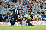 February 8, 2017: Sydney FC defender Michael ZULLO (7) gets taken down in front of Sydney FC coach Graham Arnold at Round 19 of the 2017 Hyundai A-League match, between Sydney FC and Wellington Phoenix played at Allianz Stadium in Sydney. Sydney FC won the game 3-1.