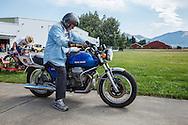 Ken Olsson, Museum Coordinator, on his Moto Guzzi at WAAAM.
