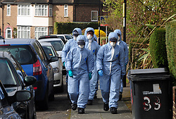 &copy; Licensed to London News Pictures.04/04/2018<br /> HITHER GREEN, UK.<br /> Police forensic search team in South Park Crescent this afternoon.<br /> 78 year old man arrested in Hither Green, London after a  burgarly death. police on scene.<br /> Photo credit: Grant Falvey/LNP