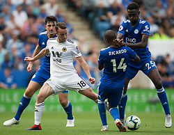 Diogo Jota of Wolverhampton Wanderers (C) in action against Harry Maguire (L), Ricardo Pereira and Wilfred Ndidi of Leicester City (R) - Mandatory by-line: Jack Phillips/JMP - 18/08/2018 - FOOTBALL - King Power Stadium - Leicester, England - Leicester City v Wolverhampton Wanderers - English Premier League