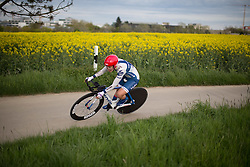 Lotta Lepistö (FIN) of Cervélo-Bigla Cycling Team leans into a corner during the 2.8km time trial prologue of Elsy Jacobs - a stage race in Luxembourg in Luxembourg on April 29, 2016 in Luxembourg.