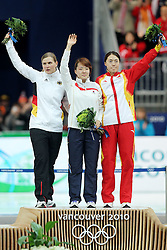 Olympic Winter Games Vancouver 2010 - Olympische Winter Spiele Vancouver 2010, Speed Skating (Ladies' 500 m), Eisschnelllauf, Jenny WOLF (GER), Sang-Hwa LEE (KOR) and Beixing WANG (CHN) *Photo by Malte Christians / HOCH ZWEI / SPORTIDA.com.