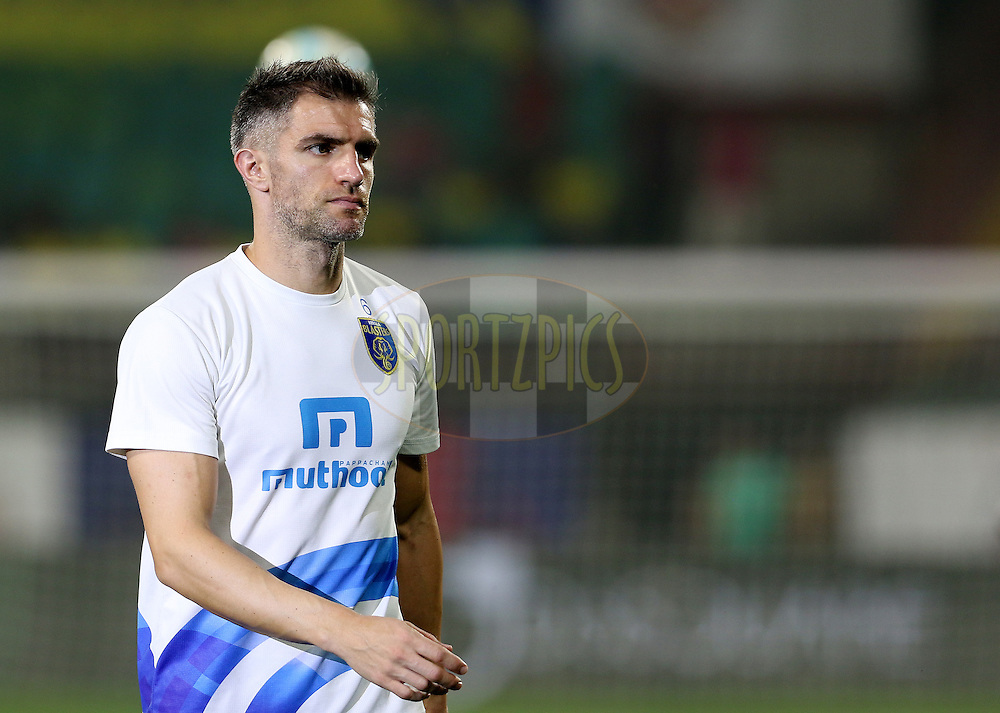 Aaron Hughes of Kerala Blasters FC warm up before the start of the match 48 of the Indian Super League (ISL) season 3 between Kerala Blasters FC and FC Pune City held at the Jawaharlal Nehru Stadium in Kochi, India on the 25th November 2016.<br /> <br /> Photo by Vipin Pawar / ISL / SPORTZPICS