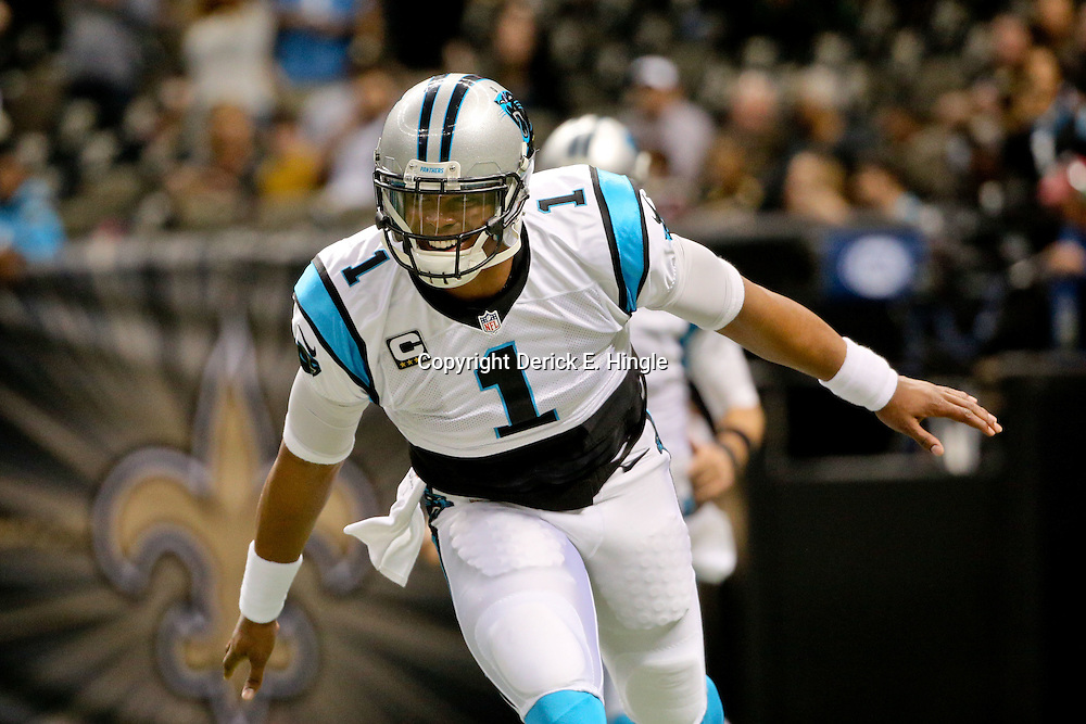Dec 6, 2015; New Orleans, LA, USA; Carolina Panthers quarterback Cam Newton (1) runs onto the field prior to a game against the New Orleans Saints at Mercedes-Benz Superdome. Mandatory Credit: Derick E. Hingle-USA TODAY Sports