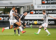 Dundee's James McPake hit the bar with this effort  - Dunfermline Athletic v Dundee - Scottish League Cup at East End Park<br /> <br />  - &copy; David Young - www.davidyoungphoto.co.uk - email: davidyoungphoto@gmail.com