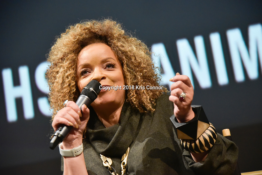 "Costume designer Ruth Carter joins moderator  Ta-Nehisi Coates in discussion following a special advance screening of ""Black Panther"" on Sunday, February 11 for Howard University students at the National Air and Space Museum in Washington, D.C. (Kris Connor for Disney)"