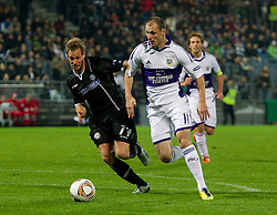 20.10.2011, UPC Arena, Graz, AUT, UEFA Europa League, Sturm Graz vs RSC Anderlecht, im Bild Milan Jovanovic (RSC Anderlecht, Offense, #11) und Martin Ehrenreich (SK Sturm Graz, #17, Defense) // during UEFA Europa League football game between Sturm Graz and RSC Anderlecht at UPC Arena in Graz, Austria on 20/10/2011. EXPA Pictures © 2011, PhotoCredit: EXPA/ E. Scheriau