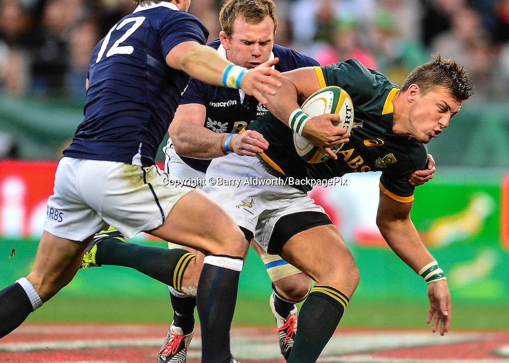 Handre Pollard of South Africa on debut during the 2014 Castle Lager Incoming Series rugby test match between South Africa and Scotland at the Nelson Mandela Bay Stadium in Port Elizabeth, South Africa on June 27, 2014 ©Barry Aldworth/BackpagePix