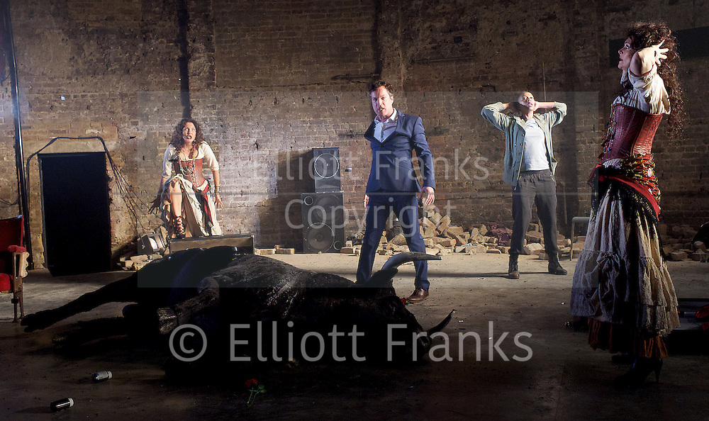 Carmen Disruption <br /> at Almeida Theatre, London, Great Britain <br /> press photocall<br /> 16th April 2015 <br /> <br /> Jack Farthing as Carmen <br /> <br /> Noma Dumezweni as Don Jose <br /> <br /> John Light as Escamillo <br /> <br /> Katie West as Michaela <br /> <br /> Sharon Small (singer)<br /> <br /> <br /> <br /> Photograph by Elliott Franks <br /> Image licensed to Elliott Franks Photography Services