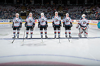 KELOWNA, CANADA - FEBRUARY 10: Reid Gardiner #23, Erik Gardiner #12, Nolan Foote #29, Cal Foote #25, Gordie Ballhorn #4 and Brodan Salmond #31 of the Kelowna Rockets stand on the blue line at the start of the game against the Vancouver Giants on February 10, 2017 at Prospera Place in Kelowna, British Columbia, Canada.  (Photo by Marissa Baecker/Shoot the Breeze)  *** Local Caption ***
