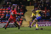 Accrington Stanley forward Shay McCartan superb goal during the Sky Bet League 2 match between York City and Accrington Stanley at Bootham Crescent, York, England on 28 November 2015. Photo by Simon Davies.