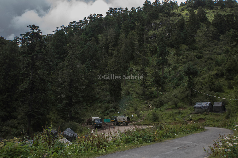 For a story by Steven Lee Myers, Bhutan<br /> Haa, Bhutan, August 3rd, 2017<br /> An Indian Army camp in the forest above Haa, near the disputed border area between Bhutan and China.<br /> Gilles Sabri&eacute; pour The New York Times