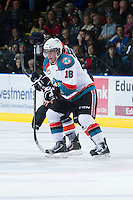KELOWNA, CANADA - DECEMBER 27:  Cody Fowlie #18 of the Kelowna Rockets skates on the ice against the Kamloops Blazers at the Kelowna Rockets on December 27, 2012 at Prospera Place in Kelowna, British Columbia, Canada (Photo by Marissa Baecker/Shoot the Breeze) *** Local Caption ***