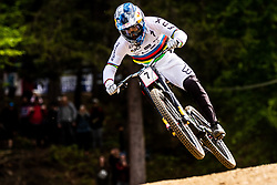Loic Bruni of France during his winning run at Mercedes-Benz UCI Mountain Bike World Cup competition final day in Bike Park Pohorje, Maribor on 28th of April, 2019, Slovenia.  . Photo by Grega Valancic / Sportida