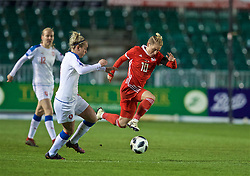 NEWPORT, WALES - Thursday, April 4, 2019: Wales' Jessica Fishlock gets away from Czech Republic's Petra Bertholdová during an International Friendly match between Wales and Czech Republic at Rodney Parade. (Pic by David Rawcliffe/Propaganda)