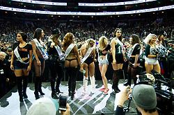 Wingettes on stage during Wing Bowl 26, at the Wells Fargo Center in Philadelphia, PA, on February 2, 2018. The annual chicken wing eating contest is set two days before Super Bowl 52, where the Philadelphia Eagles will take on the New England Patriots.