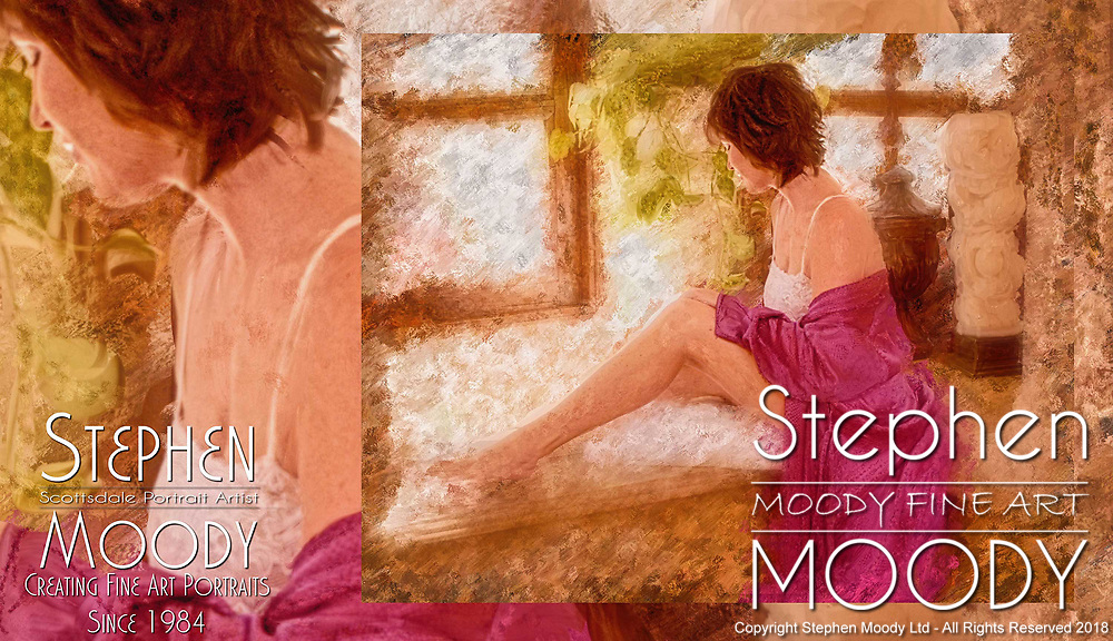 Fine Art Portraits by Scottsdale Portrait Artist Stephen Moody - Commissioned Mixed Media Portraiture. The Bather - woman ready to take a bath.