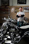 Jesse Bassett, owner of the Gasbox Motorcycle Shop