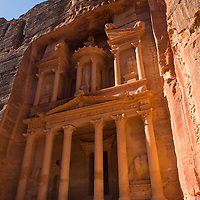 "Al-Khazneh or ""The Treasury"" was built in the 1st century AD by the Nabateans.  It is one of the most elaborate temples of the ancient city of Petra in Jordan."