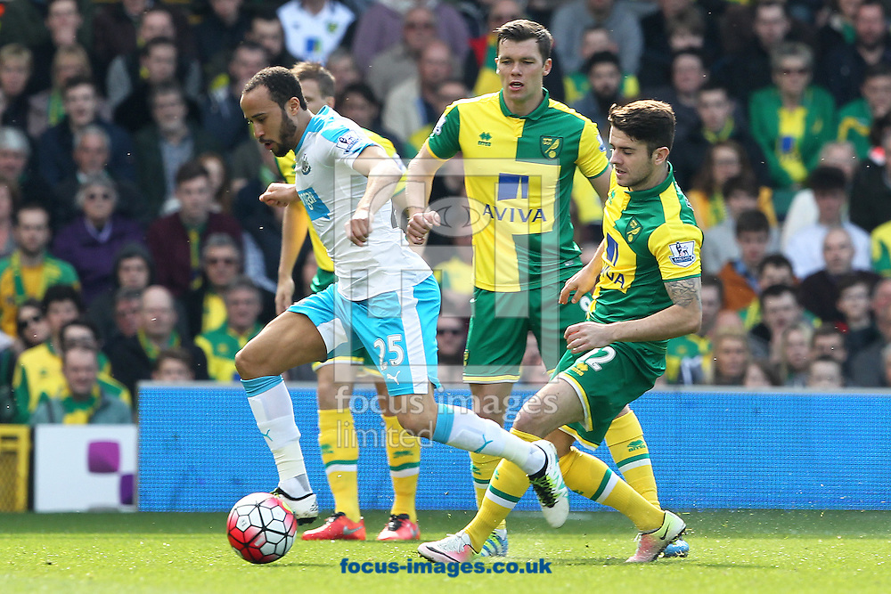 Andros Townsend of Newcastle United and Robbie Brady of Norwich in action during the Barclays Premier League match at Carrow Road, Norwich<br /> Picture by Paul Chesterton/Focus Images Ltd +44 7904 640267<br /> 02/04/2016