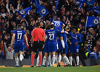 Football - 2018 / 2019 UEFA Europa League - Semi-Final, Second Leg: Chelsea (1) vs. Eintracht Frankfurt (1)<br /> <br /> Chelsea's Ruben Loftus-Cheek (hidden) celebrates scoring the opening goal with team-mates, at Stamford Bridge.<br /> <br /> COLORSPORT/ASHLEY WESTERN