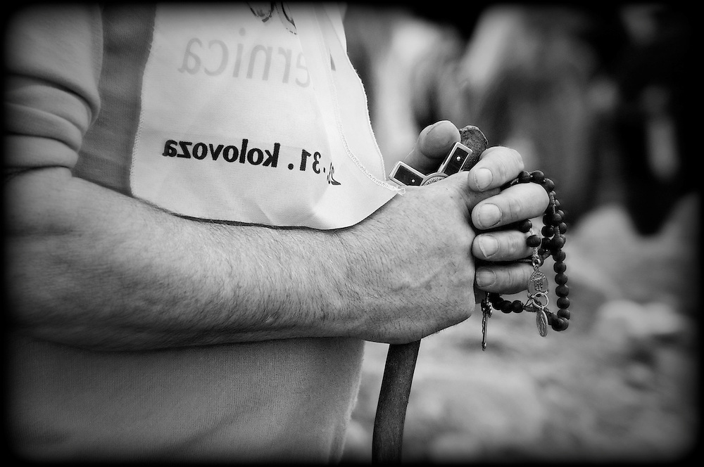 Hands of Prayer, The hands of Patrick Mc Donnell from Belmullet during Mass, Reek Sunday ,Croagh Patrick, Co. Mayo. Pic: Michael Mc Laughlin