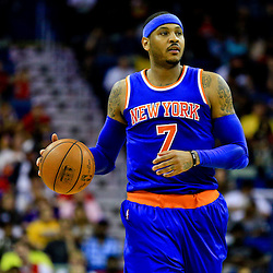 Mar 28, 2016; New Orleans, LA, USA; New York Knicks forward Carmelo Anthony (7) drives down court against the New Orleans Pelicans during the second quarter of a game at the Smoothie King Center. Mandatory Credit: Derick E. Hingle-USA TODAY Sports