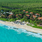 Aerial view of the Banyan Tree Mayakoba hotel on the Riviera Maya. Mexico