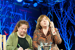 © Licensed to London News Pictures. 28/05/2016. Hay-on-Wye, Powys, Wales, UK. Heroic Belarusian journalist Svedlana Alexievich (on the right , seen with interpretor left) talks to Bridget Kendall at The Hay Festival. Fine weather on the third day of the Hay Festival at Hay-on-Wye, Wales. Photo credit: Graham M. Lawrence/LNP