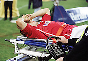 LIONS FLY HALF JONNY WILKINSON IS STRETCHERED OFF WITH A SUSPECTED BROCKEN LEG AS TEAM DOCTOR JAMES ROBSON COMFORTS HIM.AUSTRALIA V BRITISH & IRISH LIONS, 2ND TEST, COLONIAL STADIUM, MELBOURNE, AUSTRALIA, SATURDAY 7TH JULY 2001