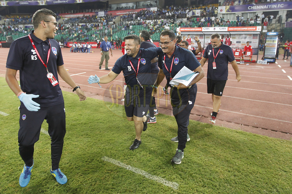 Delhi Dynamos FC officials celebrate the victory during match 6 of the Indian Super League (ISL) season 3 between Chennaiyin FC and Delhi Dynamos FC held at the Jawaharlal Nehru Stadium in Chennai, India on the 6th October 2016.<br /> <br /> Photo by Arjun Singh / ISL/ SPORTZPICS
