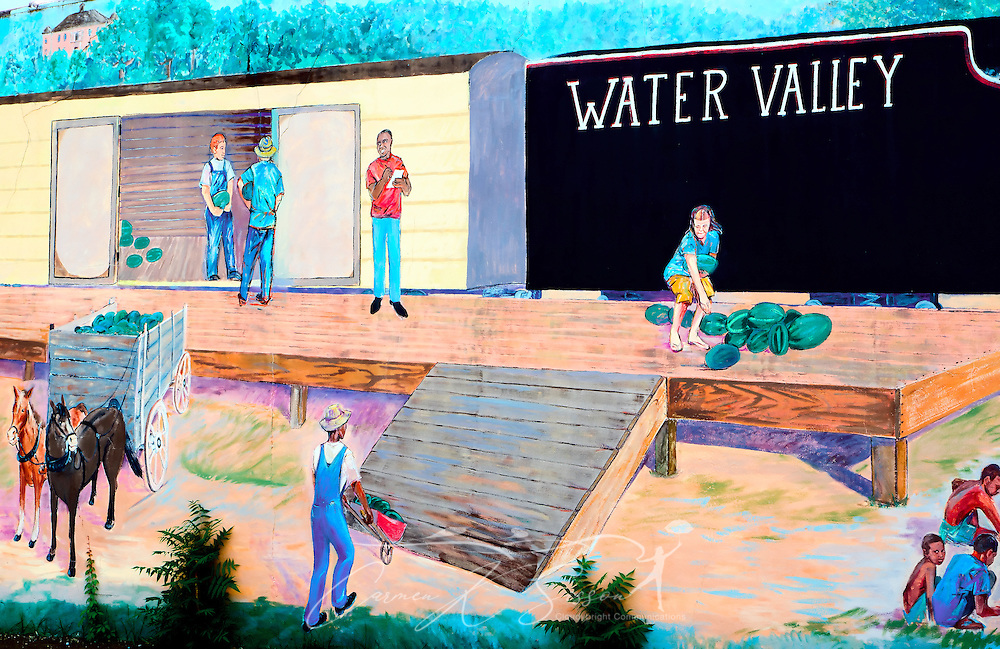 A watermelon mural in downtown Water Valley, Mississippi pays homage to the town's reputation for watermelons. (Photo by Carmen K. Sisson/Cloudybright)