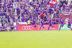 April 8, 2018 - Orlando, FL, U.S. - ORLANDO, FL - APRIL 08: Orlando City forward Dom Dwyer (14) flips to celebrate the go ahead goal during the MLS soccer match between the Orlando City FC and the Portland Timbers at Orlando City SC on April 8, 2018 at Orlando City Stadium in Orlando, FL. (Photo by Andrew Bershaw/Icon Sportswire) (Credit Image: © Andrew Bershaw/Icon SMI via ZUMA Press)