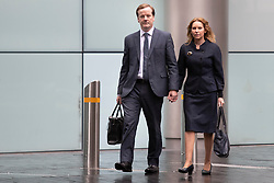 © Licensed to London News Pictures. 27/07/2020. London, UK. Charlie Elphicke arrives at Southwark Crown Court with his wife Natalie Elphicke . The former MP for Dover faces three charges of sexual assault against two women .  Photo credit: George Cracknell Wright/LNP