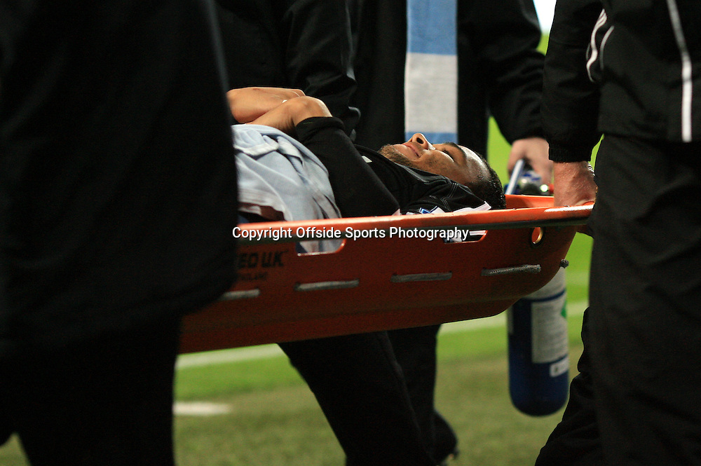 27th October 2012 - Barclays Premier League - Manchester City vs. Swansea City - Swansea goalkeeper Michel Vorm is taken off injured on a stretcher - Photo: Simon Stacpoole / Offside.