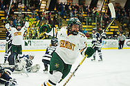 Vermont's Saana Valkama (24) celebrates a goal during the women's hockey game between the New Hampshire Wildcats and the Vermont Catamounts at Gutterson Field House on Friday night February 3, 2017 in Burlington. (BRIAN JENKINS/for the FREE PRESS)
