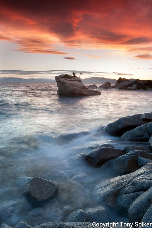 """Bonsai Rock Sunset 3"" - The sun sets over Bonsai Rock on the Eastern Shore of Lake Tahoe"