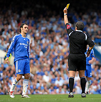 Photo: Ed Godden.<br />Chelsea v Charlton Athletic. The Barclays Premiership. 09/09/2006. Chelsea's Ricardo Carvalho is shown the yellow card.