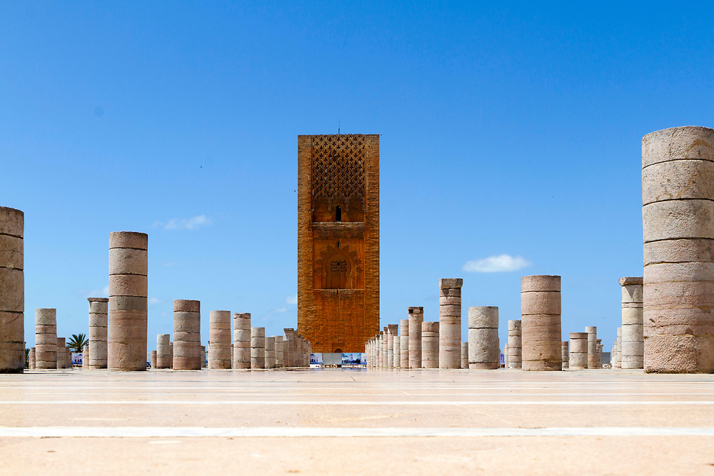 RABAT, MOROCCO - 27th May 2014 - Landscape of the Hassan Tower at the Yacoub al-Mansour esplanade in Rabat, Morocco.