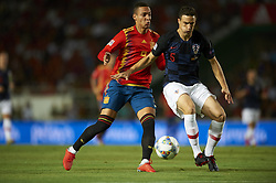 September 11, 2018 - Elche, Spain - Rodrigo Moreno of Spain and Matej Mitrovic of Croatia battle for the ball during the UEFA Nations League football match between Spain and Croatia at Martinez Valero Stadium in Elche, Spain on September 8, 2018. (Credit Image: © Jose Breton/NurPhoto/ZUMA Press)