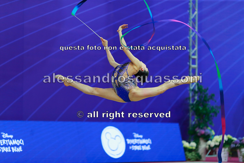 Milena Baldassarri during final of ribbon at World Cup Pesaro 2018.<br />