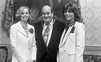 The Lord Mayor Paddy Belton with two of the Roses, Rose of Tralee Contest, circa August 1978 (Part of the Independent Newspapers Ireland/NLI Collection).
